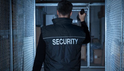 Security guard working a mobile patrol for Express Securities.